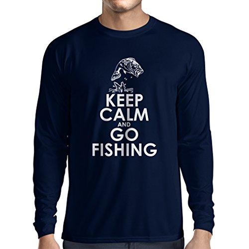 lepni.me Camiseta de Manga Larga para Hombre Ropa de Pesca Regalo Gracioso Pescador Citas de Humor (X-Large Azul Multicolor)