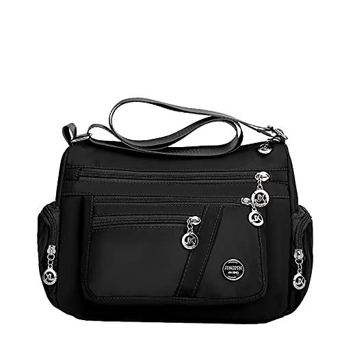 NAQUSHA Bolso de mano para mujer, bolso grande para mujer, bolso informal con muchos compartimentos, bolso de mano elegante B-negro. Talla única