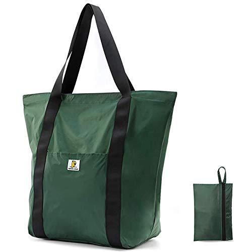 エコバッグ 折りたたみ 防水 コンビニ 買い物バッグ - 2020年最新の防水素材製作 容量25L 引き裂き防止 収納しやすい特大サイズ携帯エコバッグ、サイド収納ポケット付き、流行のデザイン、男女兼用