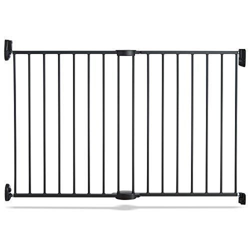 """Munchkin Push to Close Baby Gate, Hardware Mounted Safety Gate for Stairs, Hallways and Doors, Extends 28.5"""" to 45"""" Wide, Metal, Dark Grey"""