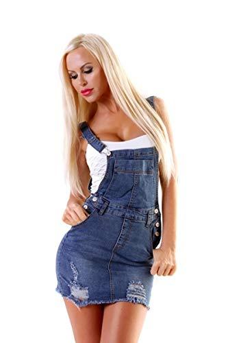 OSAB-Fashion 10714 Damen Jeans Rock Latzrock Jeansrock Minirock Trägern Destroyed Streetwear
