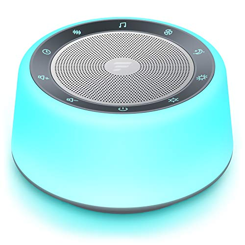 Letsfit White Noise Machine for Baby Adults, Sound Machine with Adjustable 7-Color Night Lights, 30 Soothing Sounds, Full Touch Metal Grille and Buttons, Timer and Memory Features for Bedroom Travel