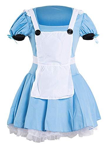 Emmas Wardrobe Alice Kostüm Damen   Adult Blaues Kleid, weiße Schürze und Schwarz Stirnband   Größe 34-44  (Women: 32, Blue Dress)