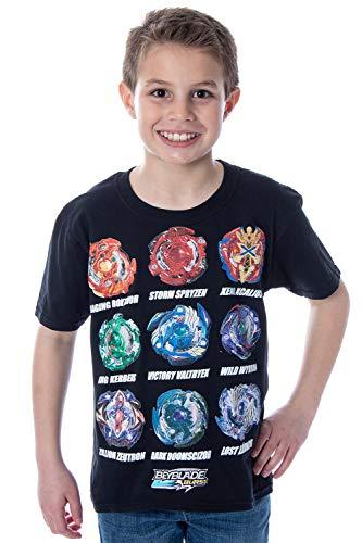Bioworld Beyblade Burst Boys' Spinner Tops T-Shirt, Black, Large