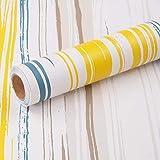 MEIBAN Papel Adhesivo para Muebles Vistoso Raya 45cmX3m Vinilo Adhesivo Muebles Impermeable Autoadhesivo Papel Pintado pared Decorativa
