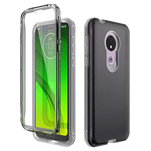 Moto G7 Power Case, Moto G7 Supra Case - CinoCase [Built in Screen Protector] Crystal Clear 3 in 1 Heavy Duty Shockproof Hybrid TPU Bumper Transparent PC Back for Motorola Moto G7 Power, Clear Black