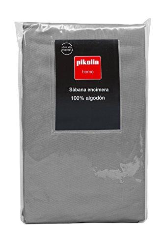 Pikolin Home - Sábana encimera, 100% algodón, 220x270cm, cama 135/140, colorgris (Todas las medidas)
