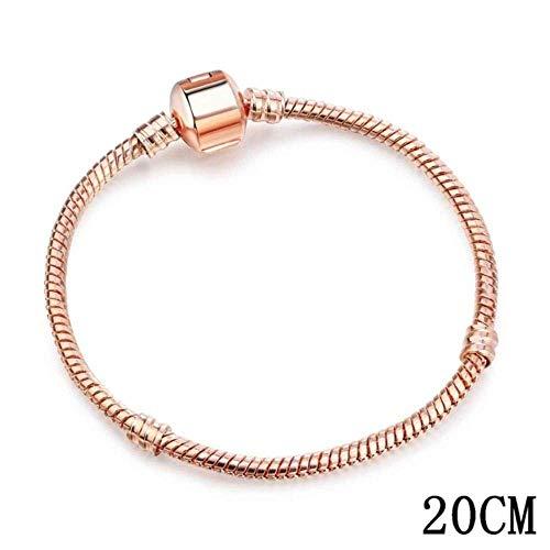 Europese en Amerikaanse Mode Sieraden-925 Bangle Liefde Slang Ketting Snap Sluiting Sieraden Fit Charm Pandora Armband voor Wdiy Sieraden maken, Thumby #-6