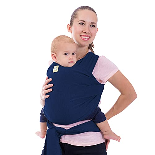 Baby Wrap Carrier - All in 1 Stretchy Baby Sling - Baby Carrier Sling - Baby Carrier Wraps - Baby Carriers for Newborn, Infant - Baby Holder Straps - Baby Slings - Baby Sling Wrap (Navy Blue)