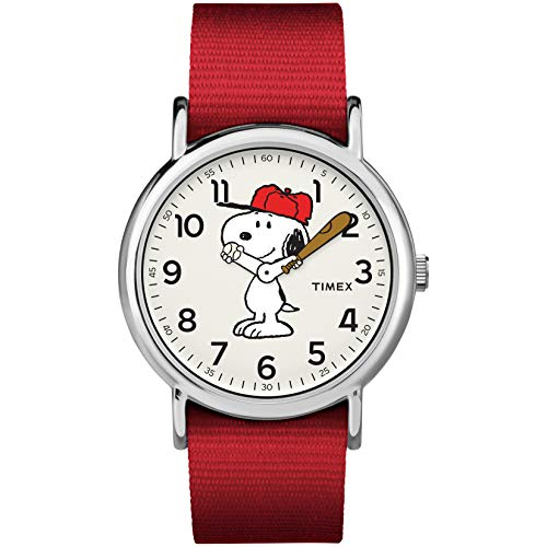 Timex Unisex TW2R41400 Weekender 38mm Peanuts Snoopy Nylon Slip-Thru Strap Watch