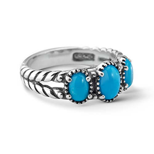 American West Sterling Silver Sleeping Beauty Turquoise Gemstone 3-Stone Friendship Ring Size 8