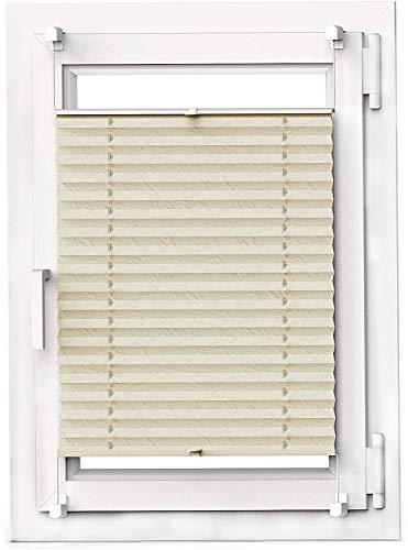 OBdeco Plissee Rollo Klemmfix ohner Bohren Faltrollo für Fenster Blickdicht Sonnenschutz Easyfix (Beige, (BreitxHoch) 100cmx130cm)