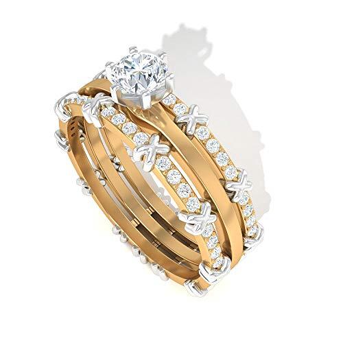 Anillo de compromiso con diamante certificado IGI de 0,5 quilates, anillo de compromiso de eternidad de dos tonos, HI-SI de claridad de color, 14K Oro amarillo, Diamante, Size:EU 45