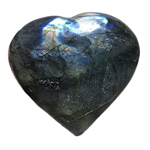 W.Z.H.H.H Crystal Rau Natürliche Kristall Labradorite Palm Reiki Heilung Quarz Edelsteine Ornament for Dekoration Liebe Herz Stein Heilende Kristalle