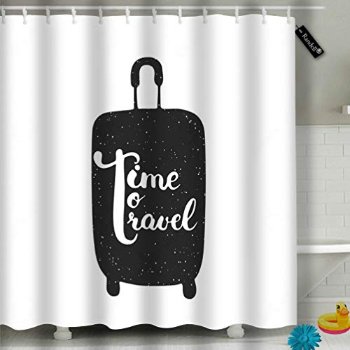 Randell Bathroom Shower Curtain Hello Friday The Black Modern Call Waterproof Fabric Shower Curtain 60(W) X 72(L) Inches for Men Women Kids