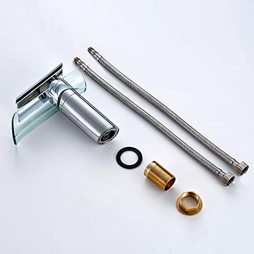 Auralum Wasserhahn Glas Spüle Waschtisch Waschtischarmatur Armatur für Bad - 7