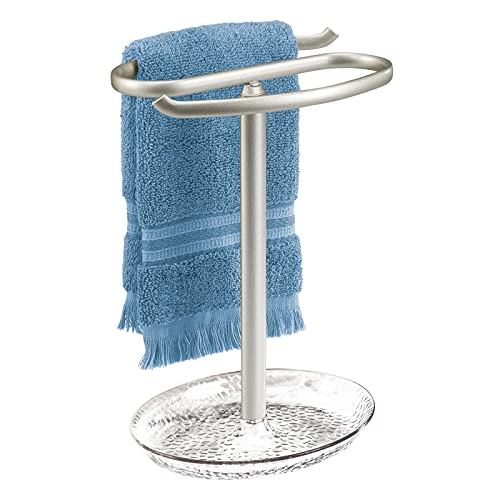 mDesign Decorative Metal Fingertip Towel Holder Stand