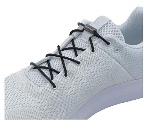 EazyShoelaces Elastische Schnürsenkel | Die runden stylischen Schnürsenkel mit Metall lock system | Nie mehr Schuhe zubinden (Schwarz)
