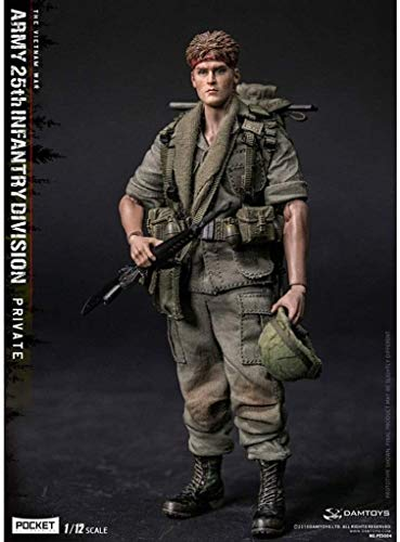 HOOPOO 1/12 Scale Army Military Action Figure, 6 Inch U.S Army 25th Infantry Division Field platoon Flexible Male Soldier Model Collection Military Toys Play Set for Male Gift