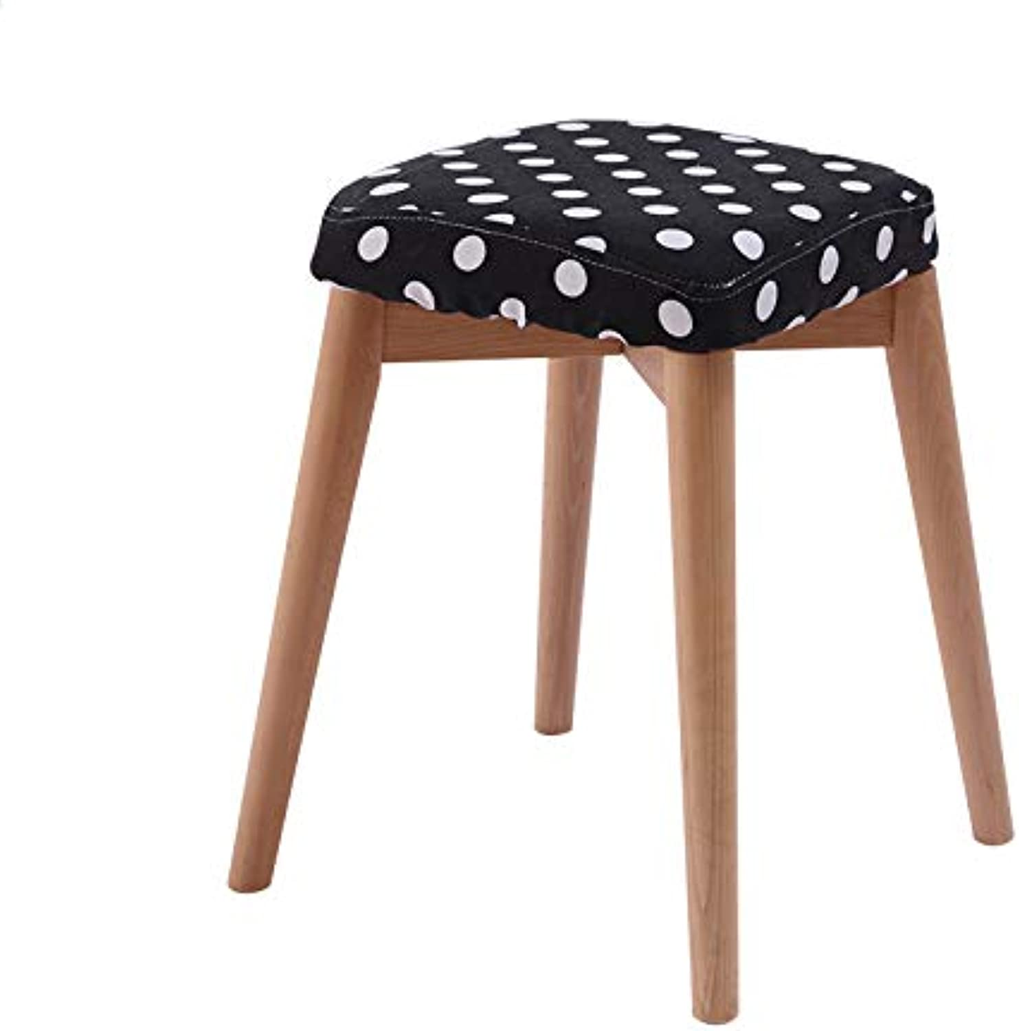 Stool Solid Wood Stool Dining Stool Simple and Modern Removable seat Cover Square Size  46  33  33cm (color   I)