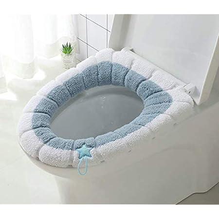 Color : Style 1 WBFN Si/ège de Toilette Couverture Flanelle Coussin WC Autocollants Lavable Toilettes Tapis r/éutilisables Couverture Salle de Bains Accessoires Toile