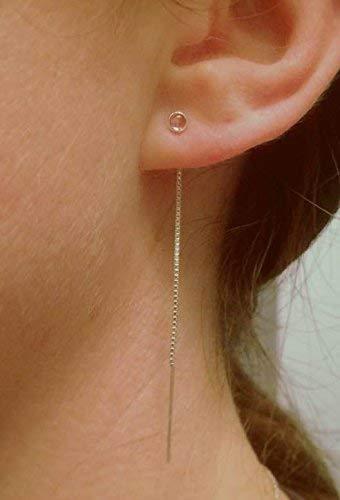 minimalist jewelry dainty earrings Rose gold minimalist Threader earrings threader earrings seed bead earrings pink earrings