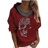 Wave166 Blusa para mujer, camiseta de Halloween, diseño de calavera con lentejuelas, ropa callejera, de manga larga, para otoño, para fiestas, informal, ropa deportiva para niñas y mujeres, rojo, XXL