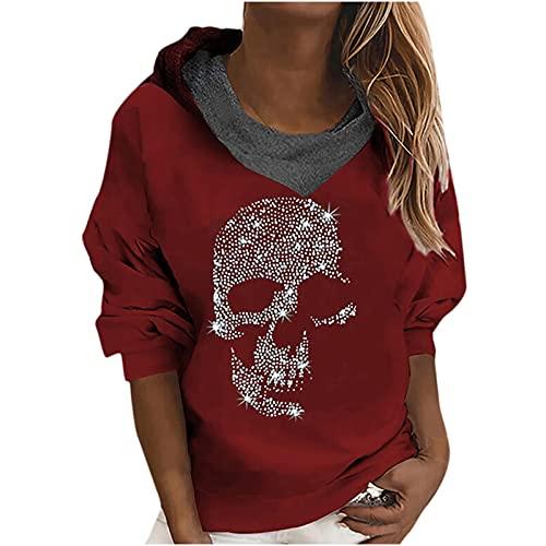 Wave166 Blusa para mujer, camiseta de Halloween, diseño de calavera con lentejuelas, ropa callejera, de manga larga, para otoño, para fiestas, informal, ropa deportiva para niñas y mujeres, rojo, M