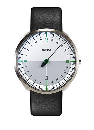 BOTTA 24-Stunden-Einzeigeruhr Herren Schweizer Quarzwerk mit Lederarmband UNO 24 (40 mm, Weiß/Grün)