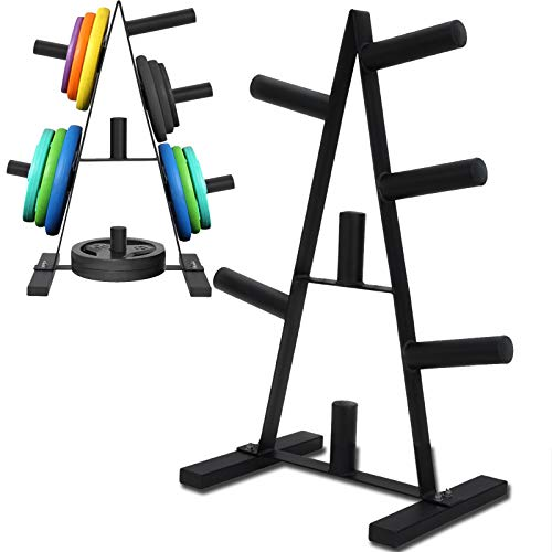 Olympic Weight Plate Rack,Barbell Weight Plate Rack Tree for 2 INCH Weight Plates,Dumbbell Bumper Plates Stand with 7 Holders