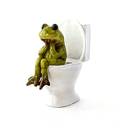 Top Collection The Thinker Frog 2.5-Inch Mini Collectible Bathroom Figurine