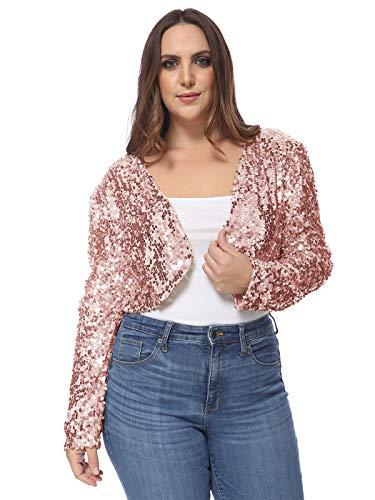 Anna-Kaci Women's Plus Size Sequin Embellished Long Sleeve Bolero Blazer Shrug, Rose Gold, XX-Large