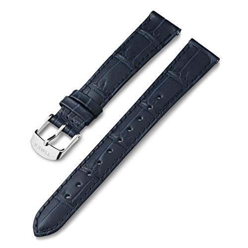 Timex 16mm Genuine Leather Strap – Blue with Silver-Tone Buckle
