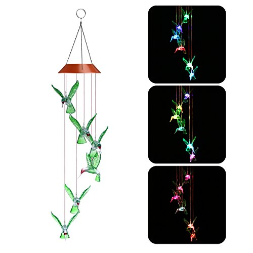 YUNLIGHTS LED Solar Wind Chimes, Changing Color Hummingbird Lamp Automatic Sensor Garden Spinner Outdoor Lights for Home Party Decorations