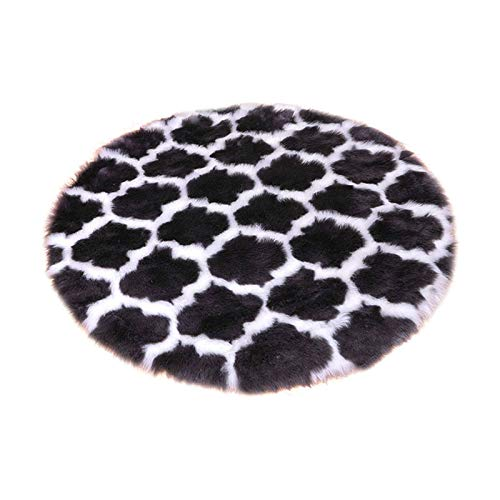 HUOLEO Soft Faux Fur Round Fluffy Rug,Shaggy Anti Slip Area Rugs Modern Geometric Pattern Home Decor Carpet For Bedroom Living Room-F-150X150cm(59X59in)