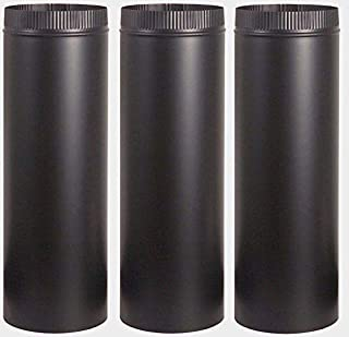"3~ Stove Pipe 7"" Dia. x 24"" Long Black Matte Finish 24 Gauge Single Wall Steel Black Home Improvement Building Supplies"