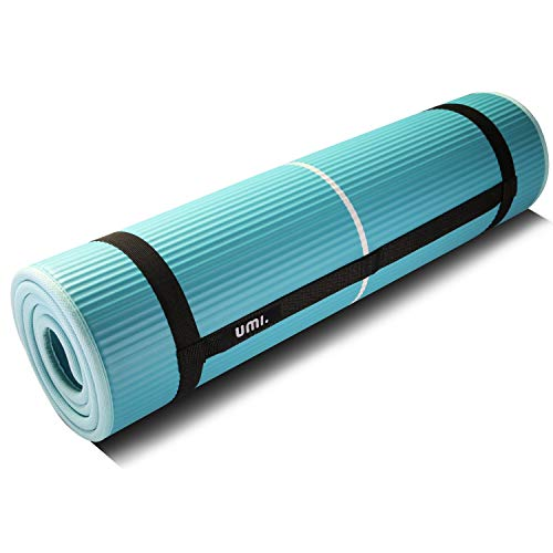 UMI. by Amazon - Fitnessmatte Sportmatte rutschfest Extra-Dick Yogamatte NBR Pilates Mat mit Tragegurt für Yoga Pilates Fitness Gymnastik Training 10mm (Grün)