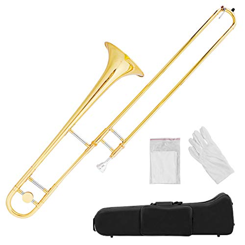 Costzon B Flat Tenor Slide Trombone Brass, Sound for Standard Student Beginner Trombone w/Case, Gloves, Mouthpiece, Portable