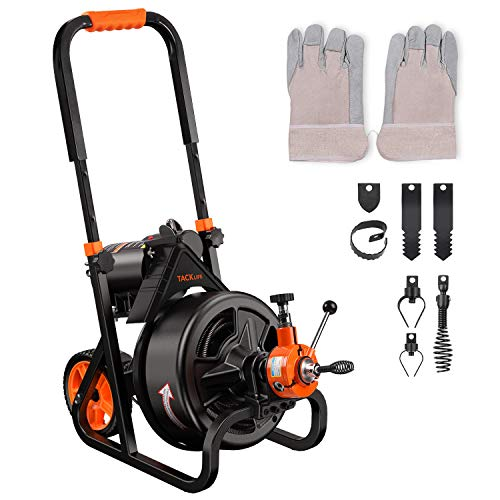 """Drain Cleaner Machine, 75 Ft x 1/2 Inch Plumbing Snake Drain Auger, Fit 2""""(50mm) to 4""""(100mm) Pipes, Autofeed, Electric Drain Snake with 6 Cutters, Professional Pipe Cleaner for Plumbers-DCM01A"""