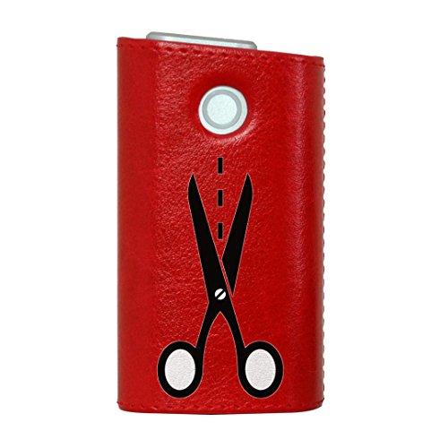 glo グロー グロウ 専用 レザーケース レザーカバー タバコ ケース カバー 合皮 ハードケース カバー 収納 デザイン 革 皮 RED レッド その他 はさみ 白 黒 006257