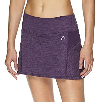 HEAD Women's Athletic Tennis Skort - Performance Training & Running Skirt - Fresh Mesh Navy Cosmos Heather Purple, X-Large