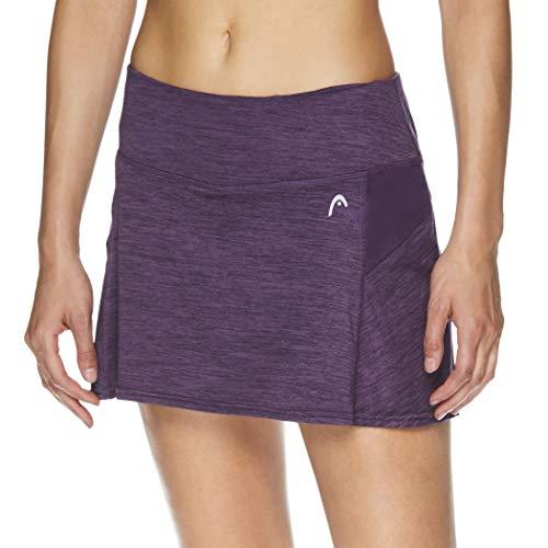 HEAD Women's Athletic Tennis Skort - Performance Training & Running Skirt - Fresh Mesh Navy Cosmos Heather Purple, X-Large