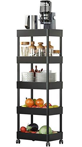KING GLOBAL 5 Tier Slim Storage Cart with Wheels Mobile Shelving Unit Organizer Slide Out Utility Rack for Kitchen Bathroom OfficeBlack