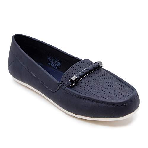 Nautica Women's Slip-on Loafer Fashion Shoe Casual Flat -beckington-Navy Perf-9