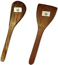 Royals Dosa Roti Spatula Set of 2 - Genuine Teak Wood Cooking Spatulas Ladles (Wooden Spoons for Pan) Nonstick