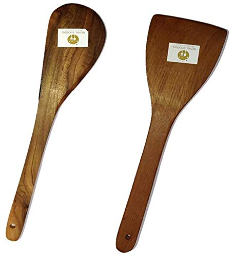 Royals Dosa Roti Spatula Set of 2 - Genuine Teak Wood Cooking Spatulas Ladles (Wooden Spoons for Pan) Nonstick
