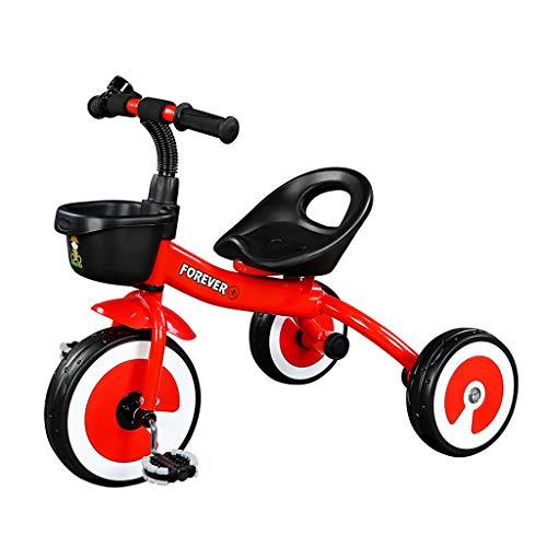 WENJIE Triciclo Bicicleta De Bebé Caminante Multifuncional Chico Chica Coche De Juguete Asiento Ajustable Asiento Portátil Regalo De Cumpleaños del Bebé (Color : Red)
