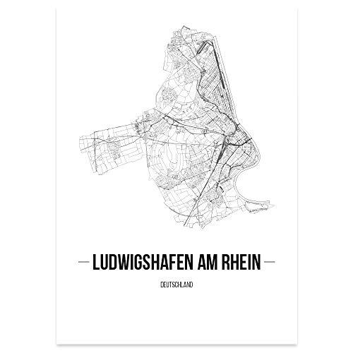 JUNIWORDS Stadtposter - Wähle Deine Stadt - Ludwigshafen am Rhein - 60 x 90 cm Poster - Schrift B - Weiß