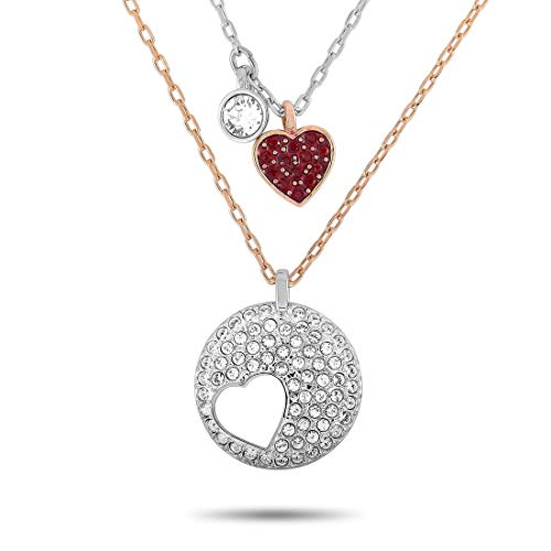 SWAROVSKI Crystal Wishes Rhodium and Yellow Gold-Plated Stainless Steel Red and Clear Crystal Pendant Necklace