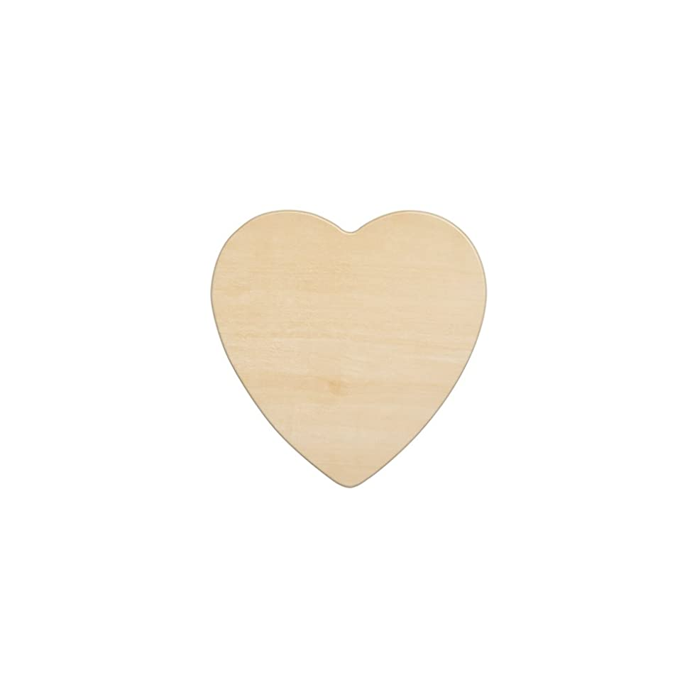 """Wooden Hearts 4-1/2 Inch, Unfinished Wooden Heart Cutout Shape, Wood Heart (4-1/2"""" Tall x 1/8"""" Thick) - Bag of 10"""